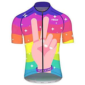 cheap Cycling Jerseys-21Grams Men's Women's Short Sleeve Cycling Jersey Red+Blue Rainbow Bike Jersey Top Mountain Bike MTB Road Bike Cycling UV Resistant Breathable Quick Dry Sports Clothing Apparel / Stretchy / Race Fit