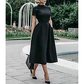 cheap Historical & Vintage Costumes-Women's Swing Dress - Short Sleeve Solid Colored Elegant Slim Black S M L XL XXL