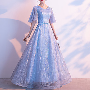 cheap Wedding Wraps-A-Line Glittering Blue Prom Formal Evening Dress V Neck Half Sleeve Floor Length Lace with Bow(s) Sequin 2020