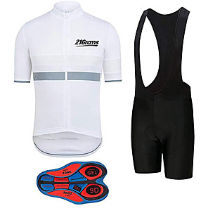 cheap Cycling Jersey & Shorts / Pants Sets-21Grams Men's Short Sleeve Cycling Jersey with Bib Shorts Black / White Stripes Bike Clothing Suit UV Resistant Breathable 3D Pad Quick Dry Sweat-wicking Sports Solid Color Mountain Bike MTB Road