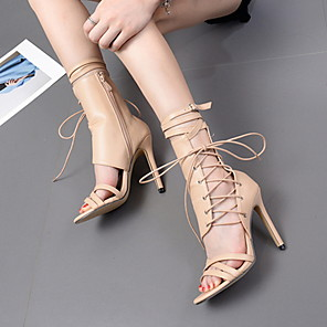cheap CCTV Cameras-Women's Sandals Stiletto Heel Round Toe PU Mid-Calf Boots Summer Black / Almond