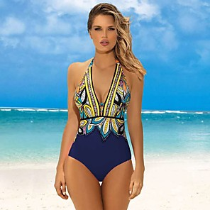 cheap Wetsuits, Diving Suits & Rash Guard Shirts-Women's Deep V Halter One Piece Swimsuit Floral / Botanical Padded Swimwear Swimwear Black / White Black Blushing Pink UV Sun Protection Breathable Quick Dry Sleeveless - Swimming Water Sports Summer