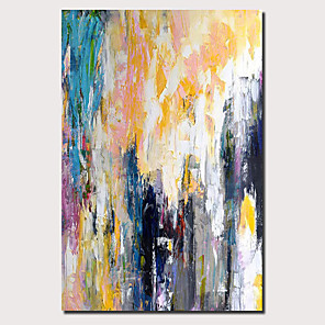 cheap Curtains Drapes-Oil Painting Hand Painted - Abstract Landscape Comtemporary Modern Stretched Canvas