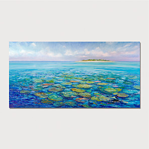 cheap Abstract Paintings-Hand Painted Canvas Oilpainting Impression Waterlilies Home Decoration with Frame Painting Ready to Hang