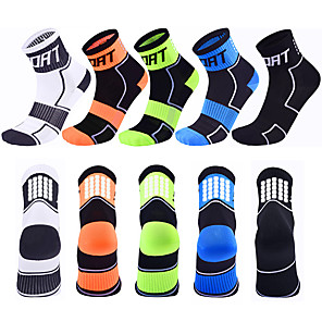 cheap Cycling Socks-Compression Socks Athletic Sports Socks Running Socks 5 Pairs Men's Women's Ankle Socks Breathable Moisture Wicking Sweat-wicking Comfortable Running Jogging Sports Fashion Nylon White Black Blue