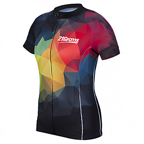 cheap Cycling Jerseys-21Grams Women's Short Sleeve Cycling Jersey Red+Blue Plaid / Checkered Bike Jersey Top Mountain Bike MTB Road Bike Cycling UV Resistant Breathable Quick Dry Sports Clothing Apparel / Stretchy