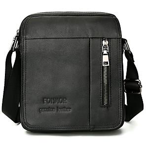 cheap Women's Boots-Men's Zipper Cowhide Crossbody Bag Solid Color Black / Brown