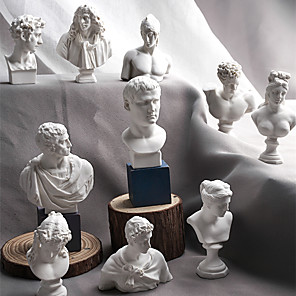 cheap Rugs-10 Pieces/SET Sketch Head Statue Gypsum Bust Mini Statue Gypsum Sketch Line Drawing Teaching Resin Art Craft Display