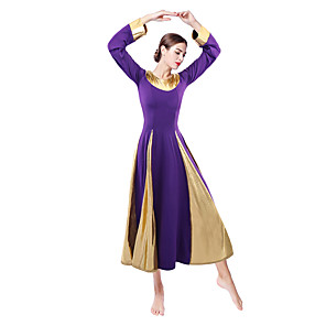 cheap Latin Dancewear-Ballroom Dance Dress Split Joint Women's Daily Wear Long Sleeve Natural Leather Milk Fiber