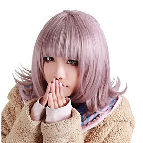 cheap Costume Wigs-Synthetic Wig kinky Straight Halloween Neat Bang Wig Pink Short Pink Synthetic Hair 12 inch Women's Best Quality Pink