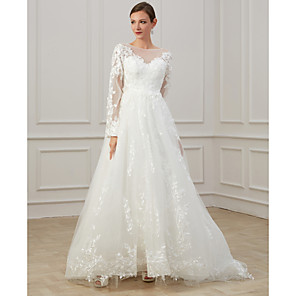 cheap Latin Dancewear-A-Line Wedding Dresses Jewel Neck Sweep / Brush Train Lace Tulle Long Sleeve Beach Plus Size Illusion Sleeve with Draping Appliques 2020