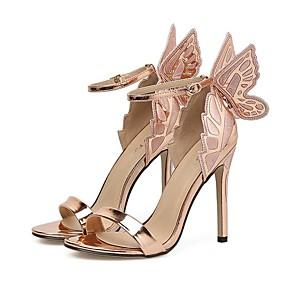 cheap Women's Heels-Women's Heels Stiletto Heel Pointed Toe PU Spring & Summer Champagne / Black / Silver