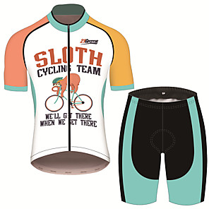 cheap Cycling Jersey & Shorts / Pants Sets-21Grams Men's Short Sleeve Cycling Jersey with Shorts Blue / White Animal Sloth Bike Clothing Suit UV Resistant Breathable 3D Pad Quick Dry Sweat-wicking Sports Animal Mountain Bike MTB Road Bike