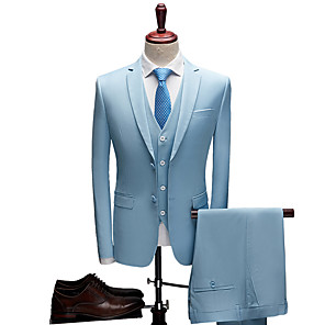 cheap Custom Suits-Tuxedos Tailored Fit Slim Notch Single Breasted Two-buttons Polyester Solid Colored / British / Fashion