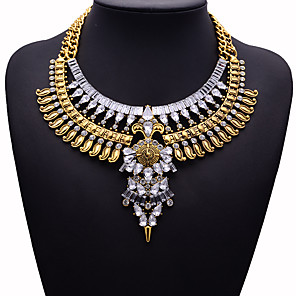 cheap Jewelry Sets-Women's White Resin Collar Necklace Statement Necklace Chunky Statement Vintage Punk Ethnic Resin Silver Plated Chrome Gold Silver 45 cm Necklace Jewelry 1pc For Party Evening Prom Street Birthday