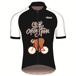 cheap Cycling Jerseys-21Grams Men's Short Sleeve Cycling Jersey Black / White Animal Sloth Bike Jersey Top Mountain Bike MTB Road Bike Cycling UV Resistant Breathable Quick Dry Sports Clothing Apparel / Stretchy
