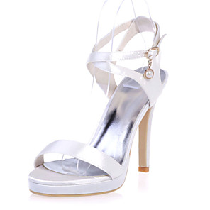 cheap Wedding Shoes-Women's Wedding Shoes Stiletto Heel Open Toe Satin Sweet Spring & Summer White / Purple / Champagne / Party & Evening