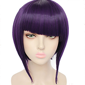 cheap Costume Wigs-Cosplay Costume Wig Synthetic Wig Kyoka Jiro Straight Halloween Bob Neat Bang Wig Short Purple Synthetic Hair 10 inch Women's Purple