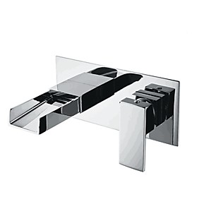 cheap Bathtub Faucets-Bathroom Sink Faucet - Wall Mounted Contemporary Basin Mixer Tap Waterfall Chrome Water Tap