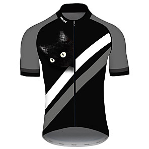 cheap Cycling Jerseys-21Grams Men's Short Sleeve Cycling Jersey Black Cat Animal Bike Jersey Top Mountain Bike MTB Road Bike Cycling UV Resistant Breathable Quick Dry Sports Clothing Apparel / Stretchy / Race Fit