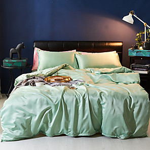 cheap Solid Duvet Covers-Duvet Cover Sets 4 Piece Polyester / Viscose Solid Colored Light Green Printed Simple