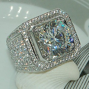 cheap Rings-Men's Ring AAA Cubic Zirconia 1pc Gold Silver Platinum Plated Alloy Stylish Daily Jewelry Cute