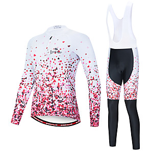 cheap Cycling Jersey & Shorts / Pants Sets-EVERVOLVE Women's Long Sleeve Cycling Jersey with Bib Tights Polyester Pink+White Pink / Black Heart Geometic Bike Clothing Suit Thermal / Warm Breathable 3D Pad Quick Dry Sweat-wicking Sports Solid