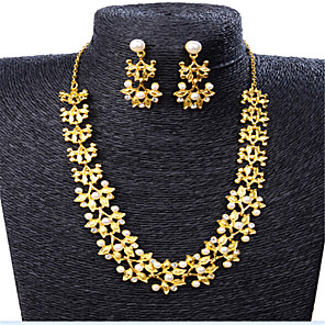 cheap Historical & Vintage Costumes-Women's Jewelry Set Classic Flower Stylish Imitation Pearl Gold Plated Earrings Jewelry Gold For Party Evening Gift Festival 1 set