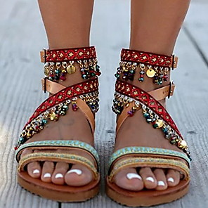 cheap Women's Sandals-Women's Sandals Boho / Beach Flat Sandals Summer Flat Heel Open Toe Casual Boho Daily Beach Tassel Color Block PU Brown