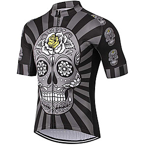 cheap Cycling Jerseys-21Grams Men's Short Sleeve Cycling Jersey Polyester Spandex Grey Skull Floral Botanical Bike Jersey Top Mountain Bike MTB Road Bike Cycling UV Resistant Breathable Quick Dry Sports Clothing Apparel