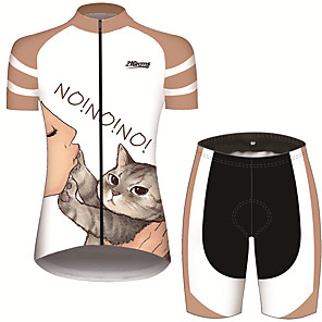 cheap Cycling Jersey & Shorts / Pants Sets-21Grams Women's Short Sleeve Cycling Jersey with Shorts Black / White Cat Animal Bike Clothing Suit Breathable 3D Pad Quick Dry Ultraviolet Resistant Sweat-wicking Sports Cat Mountain Bike MTB Road