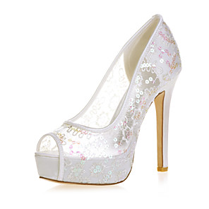 cheap Wedding Shoes-Women's Wedding Shoes Mesh Stiletto Heel Peep Toe Lace Minimalism Spring & Summer Red / Pink / Gold / Party & Evening