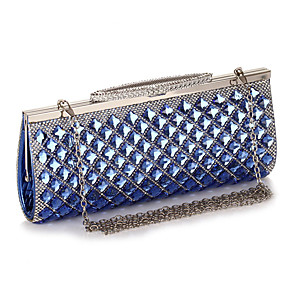 cheap Clutches & Evening Bags-Women's Crystals / Chain Acrylic / Polyester Evening Bag Color Block Black / Champagne / Silver