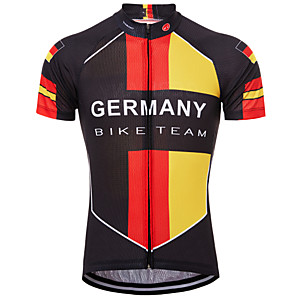 cheap Cycling Jerseys-21Grams Germany National Flag Men's Short Sleeve Cycling Jersey - Red / Yellow Bike Top UV Resistant Breathable Quick Dry Sports Terylene Mountain Bike MTB Road Bike Cycling Clothing Apparel