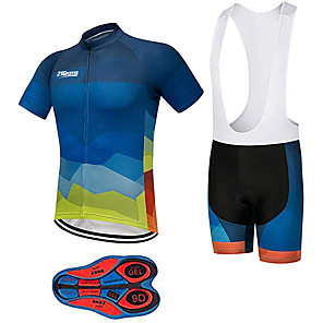 cheap PS4 Accessories-21Grams Men's Short Sleeve Cycling Jersey with Bib Shorts Spandex Polyester Black / Blue Gradient Bike Clothing Suit UV Resistant Breathable 3D Pad Quick Dry Sweat-wicking Sports Lines / Waves