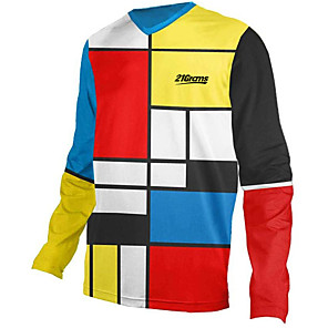 cheap Cycling Jerseys-21Grams Men's Long Sleeve Cycling Jersey Downhill Jersey Dirt Bike Jersey Red / Yellow Stripes Patchwork Geometic Bike Jersey Top Mountain Bike MTB Road Bike Cycling UV Resistant Breathable Quick Dry