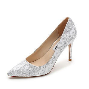 cheap Wedding Shoes-Women's Wedding Shoes Stiletto Heel Pointed Toe Cowhide Spring & Summer Gold / Silver