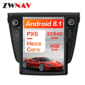 cheap Car DVD Players-ZWNAV 10.4Inch 1DIN 4GB 64GB Android 8.1 Tesla style Car DVD Player GPS Navigation Car multimedia player radio head unit For NISSAN Qashqai 2013-2018