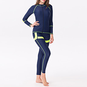 cheap Wetsuits, Diving Suits & Rash Guard Shirts-Women's Rashguard Swimsuit Elastane Top Bottoms Thermal / Warm UV Sun Protection Breathable Full Body 3-Piece - Swimming Diving Water Sports Autumn / Fall Spring Summer / Winter / High Elasticity