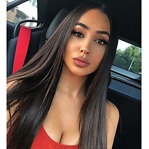 cheap Synthetic Lace Wigs-Synthetic Wig kinky Straight Halloween Asymmetrical Wig Long Natural Black Synthetic Hair 30 inch Women's Best Quality Black