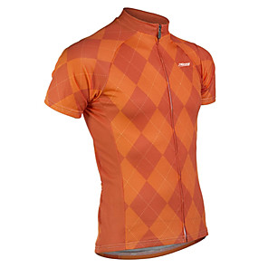 cheap Cycling Jerseys-21Grams Men's Short Sleeve Cycling Jersey Spandex Polyester Red Grey Orange Plaid / Checkered Bike Jersey Top Mountain Bike MTB Road Bike Cycling UV Resistant Breathable Quick Dry Sports Clothing