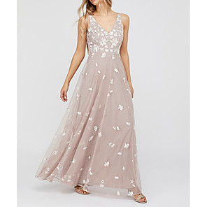 cheap Prom Dresses-A-Line Elegant Holiday Prom Dress V Neck Sleeveless Floor Length Polyester with Draping Appliques 2020