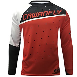 cheap Cycling Jerseys-CAWANFLY Men's Long Sleeve Cycling Jersey Downhill Jersey Dirt Bike Jersey Winter Polyester Black Polka Dot Patchwork Novelty Bike Jersey Top Mountain Bike MTB Breathable Quick Dry Sweat-wicking