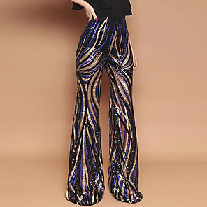 cheap Historical & Vintage Costumes-Hippie Disco Vintage Boho 1960s Pants Flowy Pants Women's Sequins Sequin Costume Black Vintage Cosplay Party