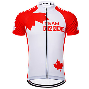cheap Cycling Jerseys-21Grams Canada National Flag Men's Short Sleeve Cycling Jersey - Red / White Bike Jersey Top Breathable Quick Dry Moisture Wicking Sports Terylene Mountain Bike MTB Clothing Apparel / Micro-elastic