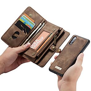 tanie Akcesoria Samsung-Caseme Wielofunkcyjne luksusowe skórzane etui z klapką skórzaną dla biznesu Samsung Galaxy A70 / A50 / A40 / A30 / A20 / A20E z podstawką na karty portfel 2-w-1 zdejmowana obudowa