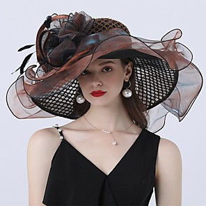 cheap Fascinators-Vintage Style Fashion Tulle / Organza Hats / Headwear with Bowknot / Flower / Trim 1 Piece Wedding / Outdoor Headpiece