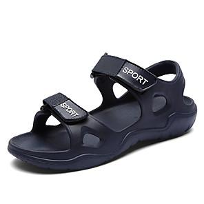 cheap Men's Sandals-Men's Faux Leather Spring & Summer Casual Sandals Breathable Black / Blue / Gray