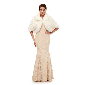 cheap Wedding Wraps-Half Sleeve Shawls Faux Fur Wedding Women's Wrap With Solid