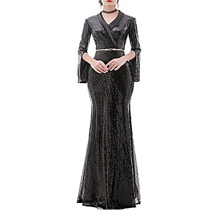 cheap Wedding Wraps-Sheath / Column Elegant Black Engagement Formal Evening Dress V Neck Long Sleeve Floor Length Polyester with Sequin 2020